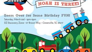 Transportation Birthday Party Invitations Transportation Birthday Invitation Train Plane Automobiles