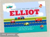 Transportation Birthday Party Invitations Transportation Birthday Party Invitation Train by