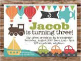 Transportation Birthday Party Invitations Transportation Invitation Transportation Birthday