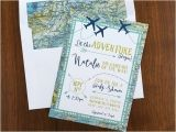 Travel themed Party Invitations Adventure Maps Baby Shower Invite Airplanes Travel theme