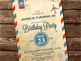 Travel themed Party Invitations Vintage Travel Invitation Travel Invite 30th 40th 50th
