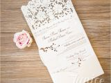 Tri Fold Wedding Invitations with Pocket Graceful Tri Fold Laser Cut Pocket wholesale Wedding Invi
