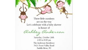 "Triplet Baby Shower Invitations Safari Triplet Monkeys Baby Shower Invitation 5"" X 7"