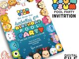 Tsum Tsum Party Invitations Tsum Tsum Pool Party Invitation