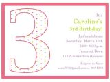 Turning 3 Birthday Invitation Quotes 3rd Birthday Girl Dots Invitations Paperstyle
