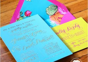 Turquoise and Hot Pink Wedding Invitations Items Similar to Turquoise Hot Pink and Yellow Gold Foil