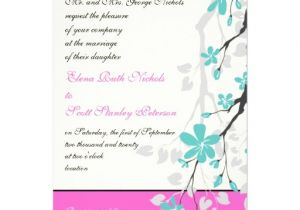 Turquoise and Hot Pink Wedding Invitations Magnolia Flowers Turquoise Hot Pink Wedding 5 Quot X 7
