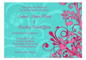 Turquoise and Hot Pink Wedding Invitations Turquoise and Pink Floral Wedding Invitation Zazzle