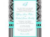 Turquoise Black and White Wedding Invitations Black White Damask Turquoise Wedding Invitation Zazzle