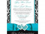 Turquoise Black and White Wedding Invitations Wedding Invitation Photo Optional Black and White