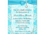 Turquoise Quinceanera Invitations Turquoise Damask Quinceanera Invitation 5 Quot X 7 Quot Invitation
