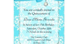 Turquoise Quinceanera Invitations Turquoise Damask Quinceanera Invitation 5 Quot X 7 Quot Invitation