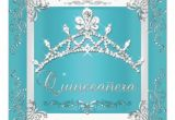 Turquoise Quinceanera Invitations Turquoise Silver Tiara Quinceanera 15th Birthday 5 25