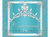 Turquoise Quinceanera Invitations Turquoise Silver Tiara Quinceanera 15th Birthday 5 25