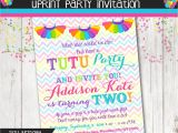 Tutu Birthday Party Invitations Rainbow Tutu Birthday Party Invitation Girls by