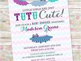 Tutu themed Baby Shower Invitations Tutu Baby Shower Invitation Baby Girl Invite Tutu Cute