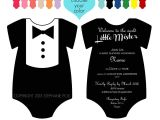 Tuxedo Onesie Baby Shower Invitations Customized Dapper Tuxedo Esie Baby Shower Invitation