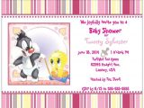 Tweety Bird Baby Shower Invitations Custom Baby Tweety Bird & Sylvester Girl Shower