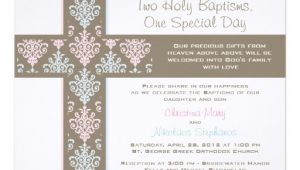 Twin Boy and Girl Baptism Invitations Boy and Girl Twin Christening Invitation