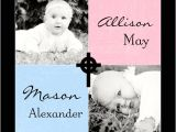 Twin Boy and Girl Baptism Invitations Twin Boy and Girl Square Christening Invitation Cross S