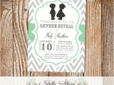 Twin Gender Reveal Party Invitations Gray and Mint Boy Girl Silhouettes Baby Shower Gender