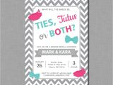 Twin Gender Reveal Party Invitations Twins Gender Reveal Invitations Ties Tutus Karter Gr59 Digital