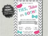 Twin Gender Reveal Party Invitations Twins Gender Reveal Invitations Ties Tutus Printable Pdf Jpg