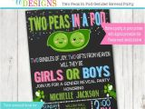 Twin Gender Reveal Party Invitations Twins Gender Reveal Party Invitation Pink and Blue Boy