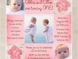 Twin Girl Birthday Party Invitations Boy Girl Hawaiian Birthday Invitation Tropical Photo