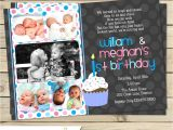 Twin Girl Birthday Party Invitations Boy Girl Twin 1st Birthday Invitation Blue Pink Double