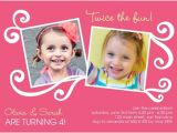 Twin Girl Birthday Party Invitations Twin Birthday Invitation Craft Ideas Pinterest Twin