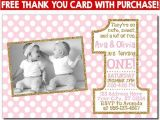 Twin Girl Birthday Party Invitations Twin Birthday Invitation Pink and Gold First Birthday