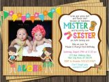 Twin Girl Birthday Party Invitations Twins Birthday Invitation Luau Party Hawaiian by Puggyprints