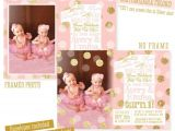 Twin Girl Birthday Party Invitations Twins First Birthday Invitations Twin Girls 1st Birthday