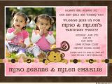 Twins 2nd Birthday Invitation Wording Monkey Girls Birthday Invitation Flowers & Bananas