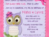 Twins 2nd Birthday Invitation Wording Owl Twin Girl Second Birthday Invitation Pink Purple