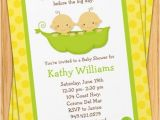 Two Peas In A Pod Baby Shower Invitations for Twins Twins Baby Shower Invitation Two Peas In A Pod by