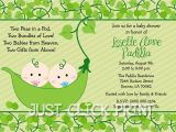 Two Peas In A Pod Baby Shower Invitations for Twins Two Peas In A Pod Baby Shower Invitations for Twins
