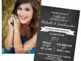 Two Sided Graduation Party Invitations Graduation Party Invitation Any Colors Photo Chalkboard 2