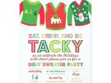 Ugly Sweater Party Invitation Poem Eat Drink and Be Tacky Ugly Sweater Party 5×7 Paper