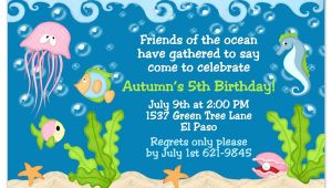 Under the Sea Birthday Invitation Template Free Under the Sea Birthday Invitations Wording Free