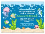Under the Sea Birthday Invitations Free Under the Sea Birthday Invitations Wording