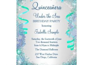 Under the Sea Quinceanera Invitations Blue Under the Sea Quinceanera 15th Birthday Party Card