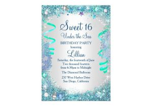 Under the Sea Quinceanera Invitations Blue Under the Sea Sweet 16 Invitation Zazzle Com