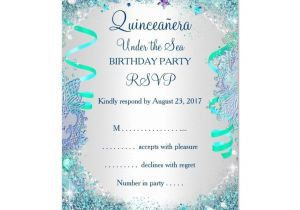 Under the Sea Quinceanera Invitations Rsvp Blue Under the Sea Quinceanera 15th Birthday 3 5×5