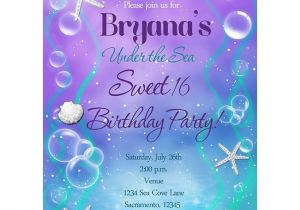 Under the Sea Quinceanera Invitations Under the Sea Sweet 16 Birthday Party Custom Invitation