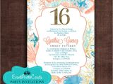 Under the Sea themed Quinceanera Invitations order This Seashell Ocean Sweet Sixteen Coral