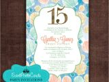 Under the Sea themed Quinceanera Invitations Under the Sea Ocean Quinceanera Coral Invites
