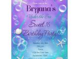 Under the Sea themed Quinceanera Invitations Under the Sea Sweet 16 Birthday Party Custom Invitation