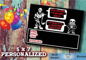 Undertale Birthday Invitations Undertale Birthday Party Invitation 1